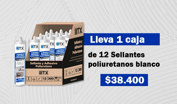 Caja de 12 unidades de Sellante poliuretano blanco
